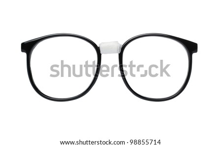 Nerd glasses isolated on white background with clipping path for easy background removal - stock photo