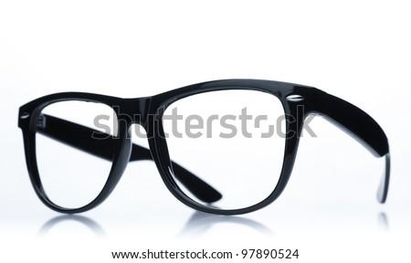 Nerd glasses on isolated white background, perfect reflection - stock photo