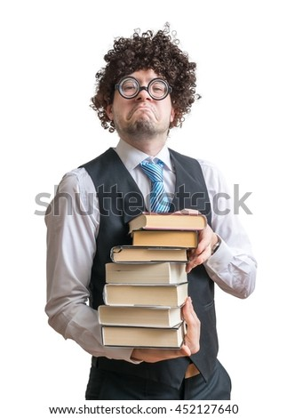 Nerd man holds many books in hands. Isolated on white background. - stock photo
