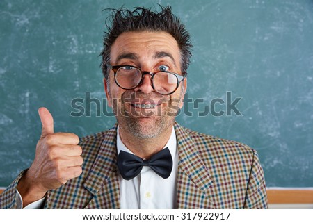 Nerd silly retro teacher man with braces funny expression ok thumb up gesture