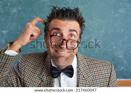 Nerd silly retro teacher man with braces funny thinking doubt expression