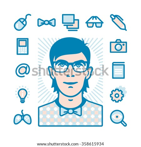 Nerd with Fat Line Icons for web and mobile. Modern minimalistic flat design elements of geeks things and conception of mind shake - stock photo