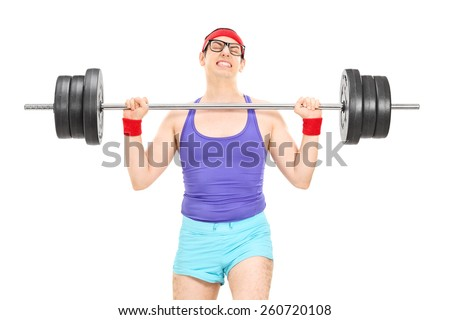 Nerdy athlete attempting to lift a weight isolated on white background - stock photo