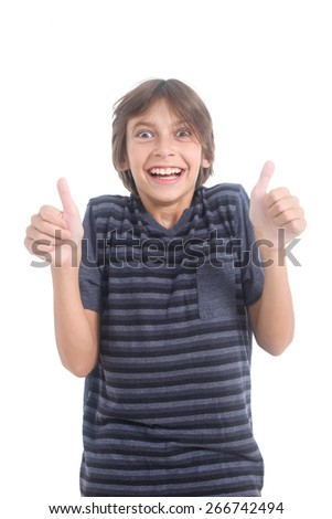 nerdy boy showing thumbs up on a white background  - stock photo