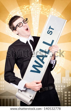Nerdy business man rocking the wall street stock market with rock solid gains from a sound share portfolio. Dollar sign city background. - stock photo