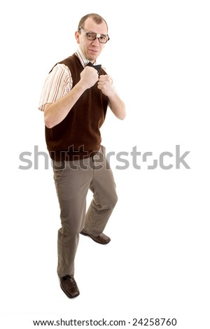 Nerdy guy in a fighting stance - stock photo