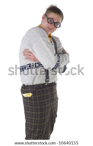 Nerdy guy with in gangster's pose. Looking at camera. Side view, white background - stock photo