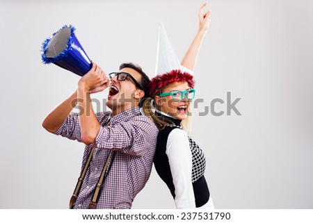 Nerdy man and nerdy woman are having party,It's time for party! - stock photo