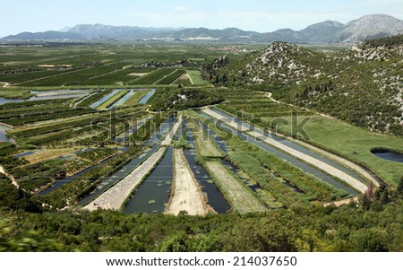Neretva river basin - stock photo
