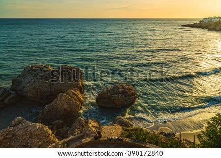 Nerja coastline landscape, famous touristic town in costa del sol. Andalusia. Spain. - stock photo