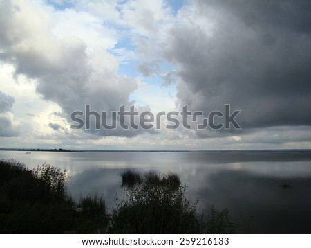 Nero lake calm before the storm in the middle of the summer in Russia