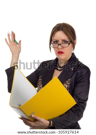 Nervous Accountant on white background - young businesswoman with a nervous and stressed out facial expression waving away with a pen in her hand while holding a large yellow file binder. - stock photo