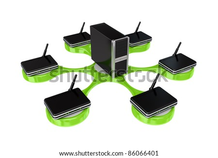 Nerwork concept.Isolated on white background. 3d rendered. - stock photo