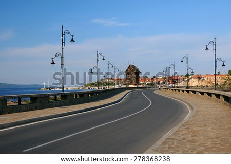 NESEBAR, BULGARIA - MAY 05, 2015: Road to Old Town of Nesebar in Bulgaria by the Black sea - stock photo