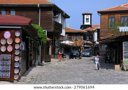 NESEBAR, BULGARIA - MAY 05, 2015: Shopping street in the Old Town in the spring - stock photo