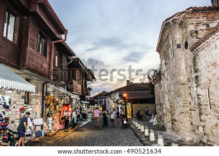 Nesebar, Bulgaria, September 19, 2016:  Old Town of Nesebar, UNESCO World Heritage Site. Nesebar is an ancient city and one of the major seaside resorts on the Bulgarian Black Sea Coast.