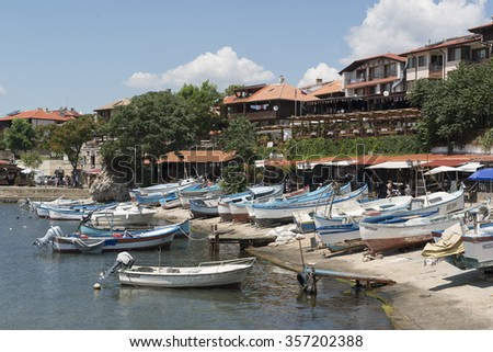 Nessebar, Bulgaria - July 15, 2015: fishing port of old town of Nesebar by the Bulgarian Black Sea coast