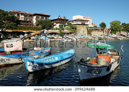 NESSEBAR, BULGARIA - JULY 20, 2015: View on street Angelo Roncalli and southern harbour in old town of Nessebar, Bulgaria. Ancient city of Nessebar is a UNESCO world heritage site. - stock photo