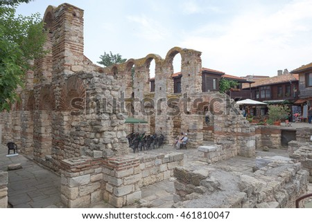 NESSEBAR, BULGARIA, JUNY 18, 2016: the ruins of ancient buildings Nessebar old town