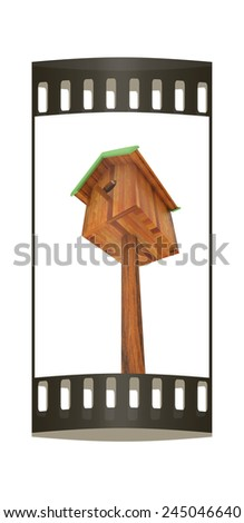 Nest box birdhouse on a white background. The film strip - stock photo