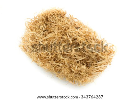 nest, brown hay rectangle shape on isolate white background