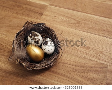Nest Egg, a golden egg inside a nest on a wooden table with copy space - stock photo