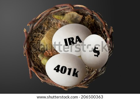 Nest eggs of 401K,IRA and dollars.