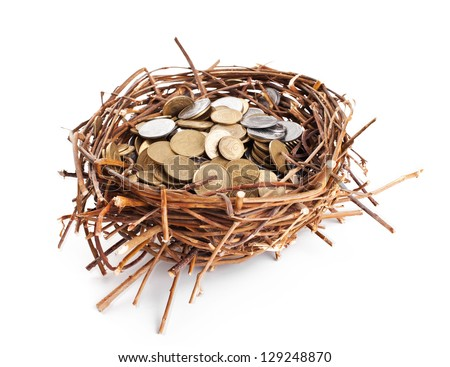 Nest full of coins isolated on white background - stock photo