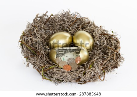 Nest full of golden eggs with one egg open containing cash.