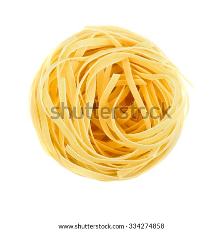 Nest pasta. View from top isolated on white background - stock photo