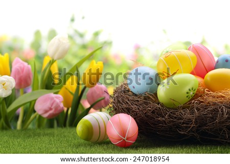Nest with Easter eggs on meadow - stock photo
