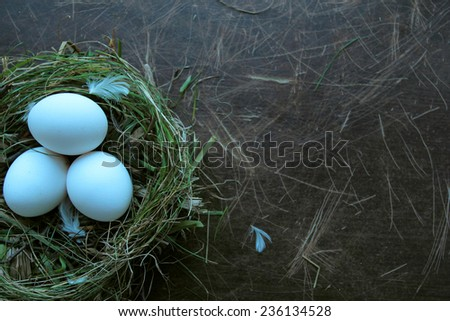 Nest with ecology eggs. Grass and hay nest on wooden background - stock photo