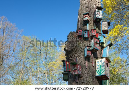 Nesting-boxes on the tree in the park of Verkiai palace, Vilnius, Lithuania - stock photo