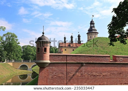 NESVIZH, BELARUS - JULY 16: Nesvizh Castle on July 16, 2014 in Nesvizh, Belarus