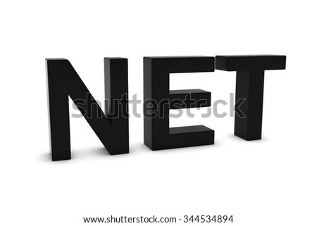 NET Black 3D Text Isolated on White with Shadows