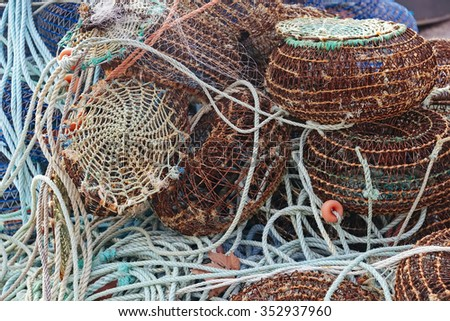Net cages for catching seafood on the pier in Porto, Portugal