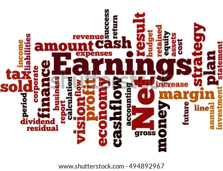 Net Earnings, word cloud concept on white background.