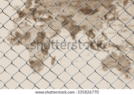 net fence on blur map in vintage tone