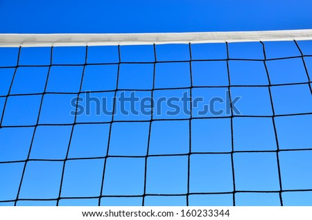 Net for beach volleyball against  of blue sky  - stock photo
