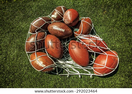 Net of rugby balls on the grass