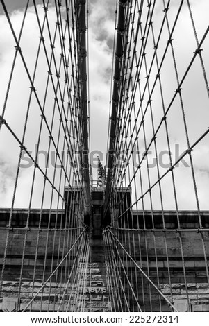 Net of suspension cables on Brooklyn Bridge, Manhattan New York, black&white - stock photo
