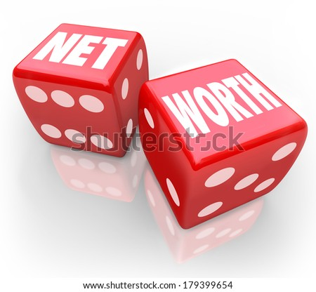 Net Worth Dice Risky Investment Bet Grow Wealth Value - stock photo