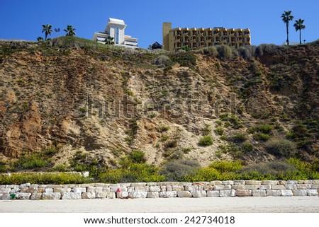 NETANYA, ISRAEL - CIRCA OCTOBER 2014 Beach and hotels                                - stock photo
