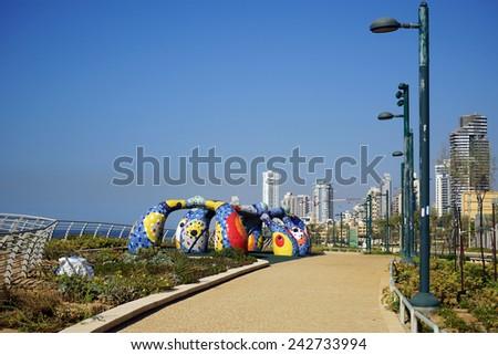 NETANYA, ISRAEL - CIRCA OCTOBER 2014 On the coast                                - stock photo