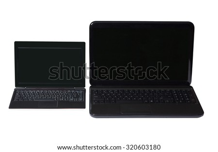 Netbook and notebook on a white background with black screen and keyboard.