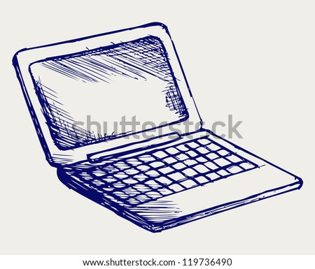 Netbook. Doodle style. Raster version - stock photo