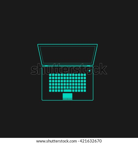 netbook Flat icon on black background. Simple symbol