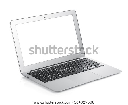 Netbook with white blank screen. Isolated on white background