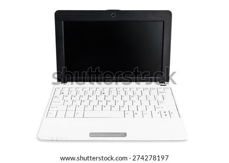Netbook with white keyboard and black screen isolated on the white background
