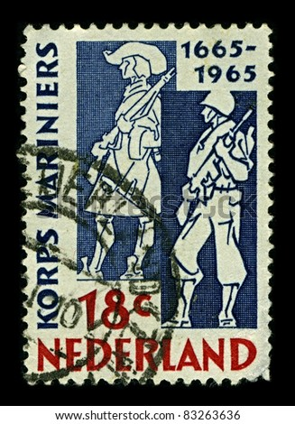 NETHERLAND-CIRCA 1965:A stamp printed in NETHERLAND shows image of 300 years of creating Netherlands Marine Corps, circa 1965.